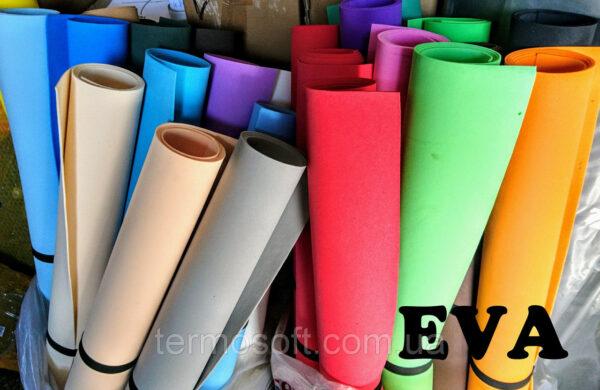 Фоамиран. Материал EVA 3075 (вспененный этиленвинилацетат, ЭВА, фоамиран, фоам) цветной, листовой 2мм.