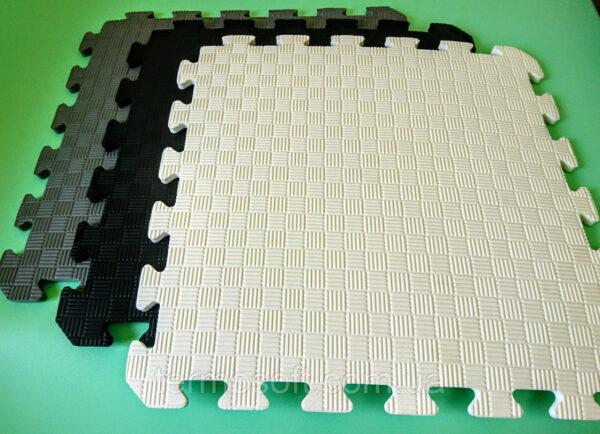 Мягкий пол (Коврик-пазл 50*50*1см) Мозаика в белых,серых и черных тонах.