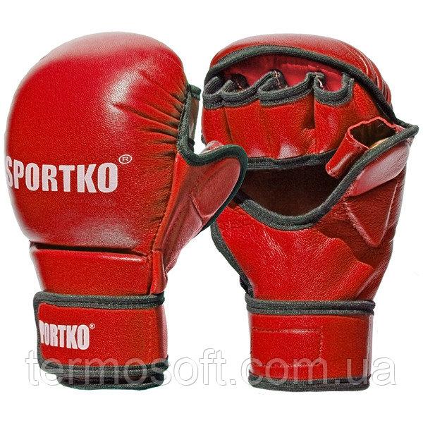 Перчатки для ММА с открытыми пальцами кожаные красные.