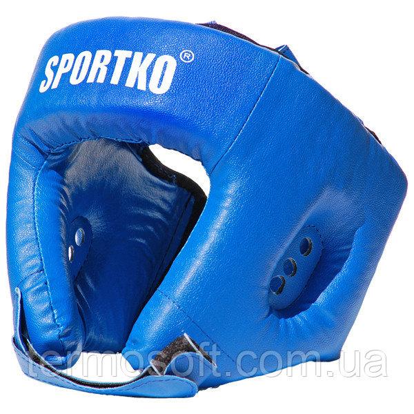 Боксерский шлем открытый (кожвинил).СИНИЙ.
