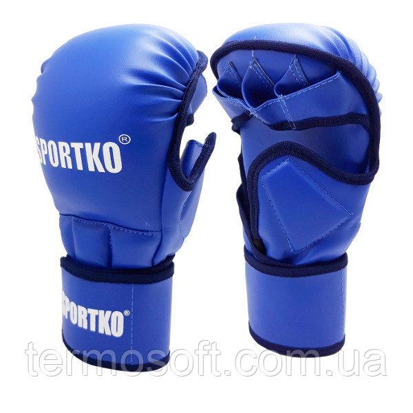 Перчатки для ММА с открытыми пальцами ( кожвинил ) синие.