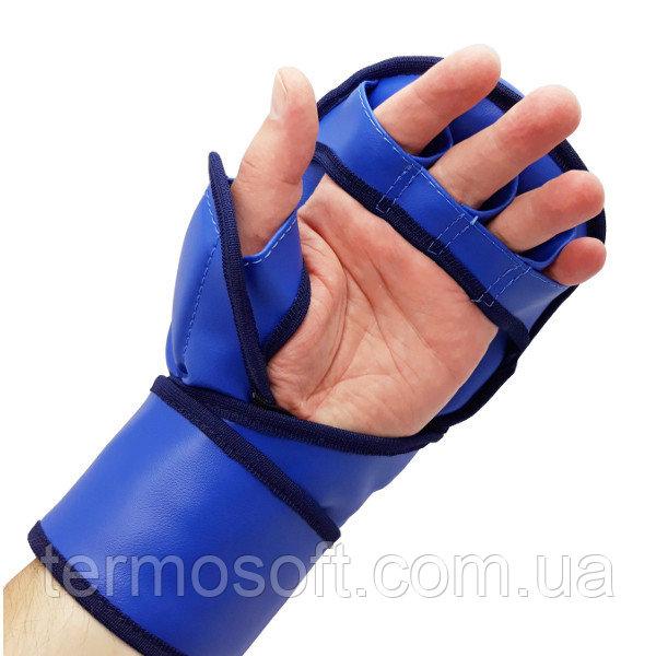 Перчатки для ММА с открытыми пальцами ( кожвинил ) красные.