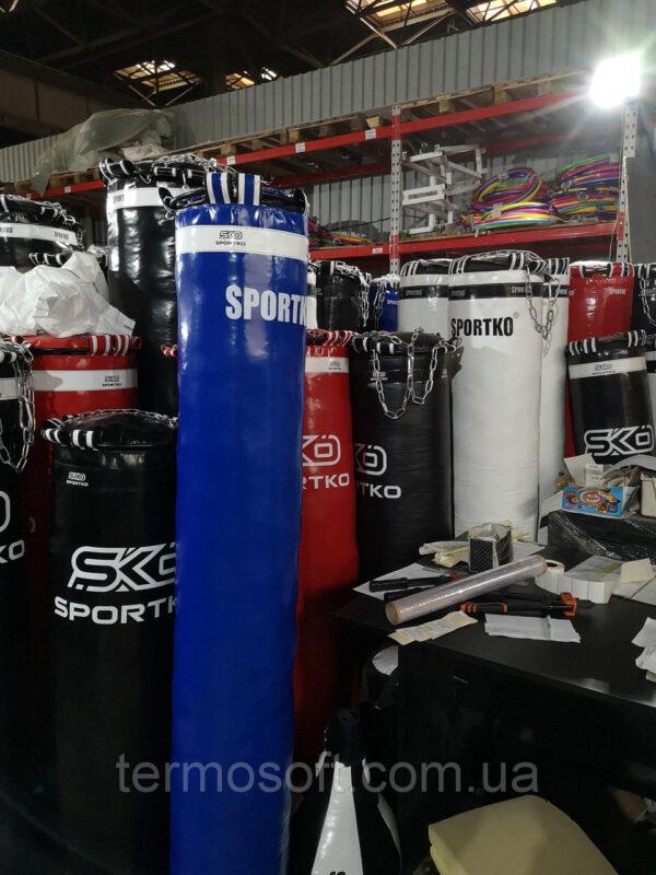 Кожаный боксерский мешок с цепями (высота-150см, диаметр-35см, вес-60кг). Олимпийский.